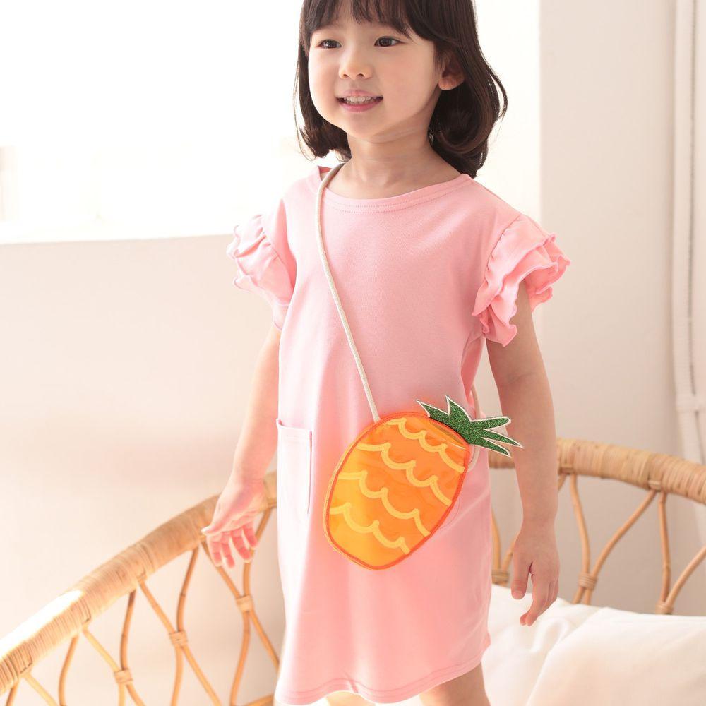 韓國 Coco Rabbit - 鳳梨包包荷葉袖洋裝-粉紅