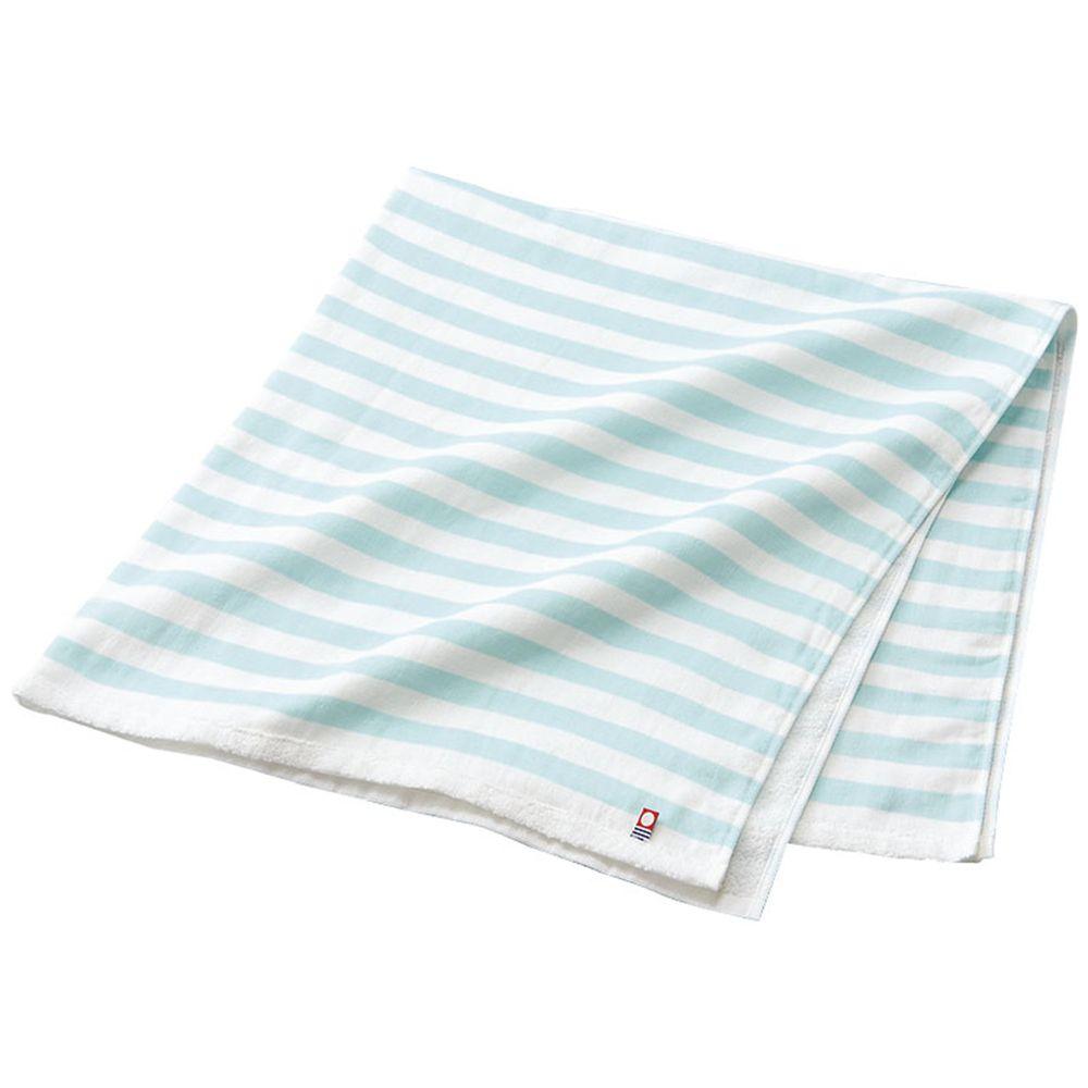akachan honpo - 今治無捻浴巾 棉紗・正方形-橫紋-藍色 (85×85cm)