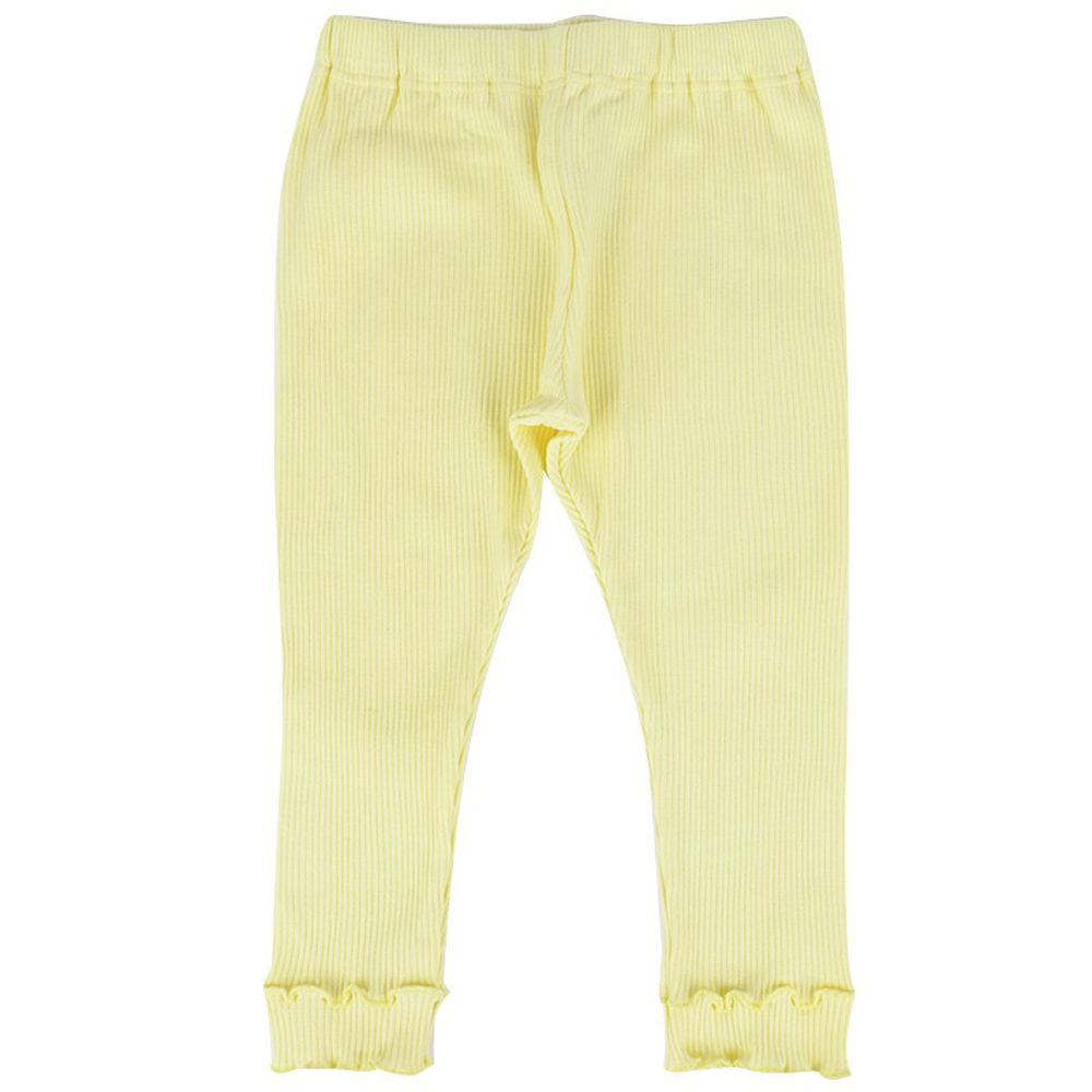 akachan honpo - 女7分素面緊身褲-黃色