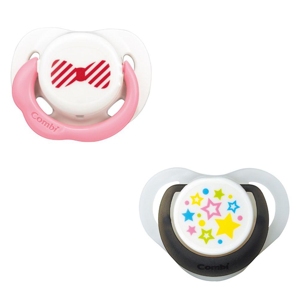 日本 Combi - 24H滿滿安全感 安撫奶嘴組合-微笑安撫奶嘴S+睡眠奶嘴M-微笑白+甜白