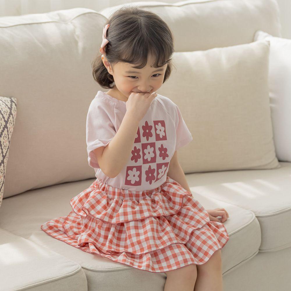 韓國 Orange Mom - 花花蛋糕裙套裝-藕粉上衣X紅裙