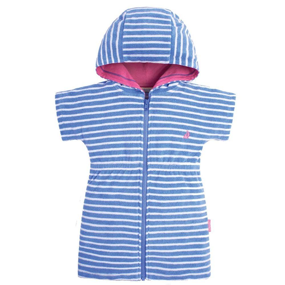 英國 JoJo Maman BeBe - 嬰幼兒/兒童游泳浴巾-藍白條紋