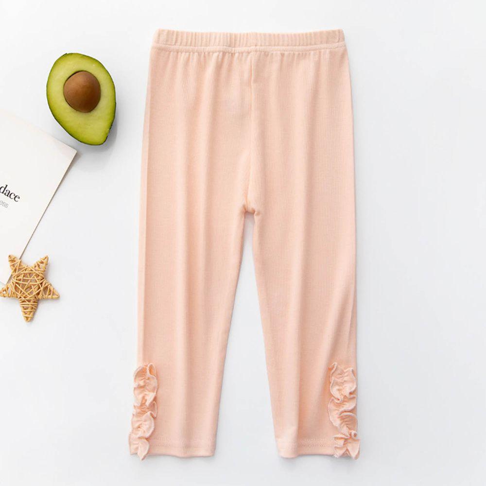 FANMOU - 七分內搭褲(莫代爾)-木耳-粉色