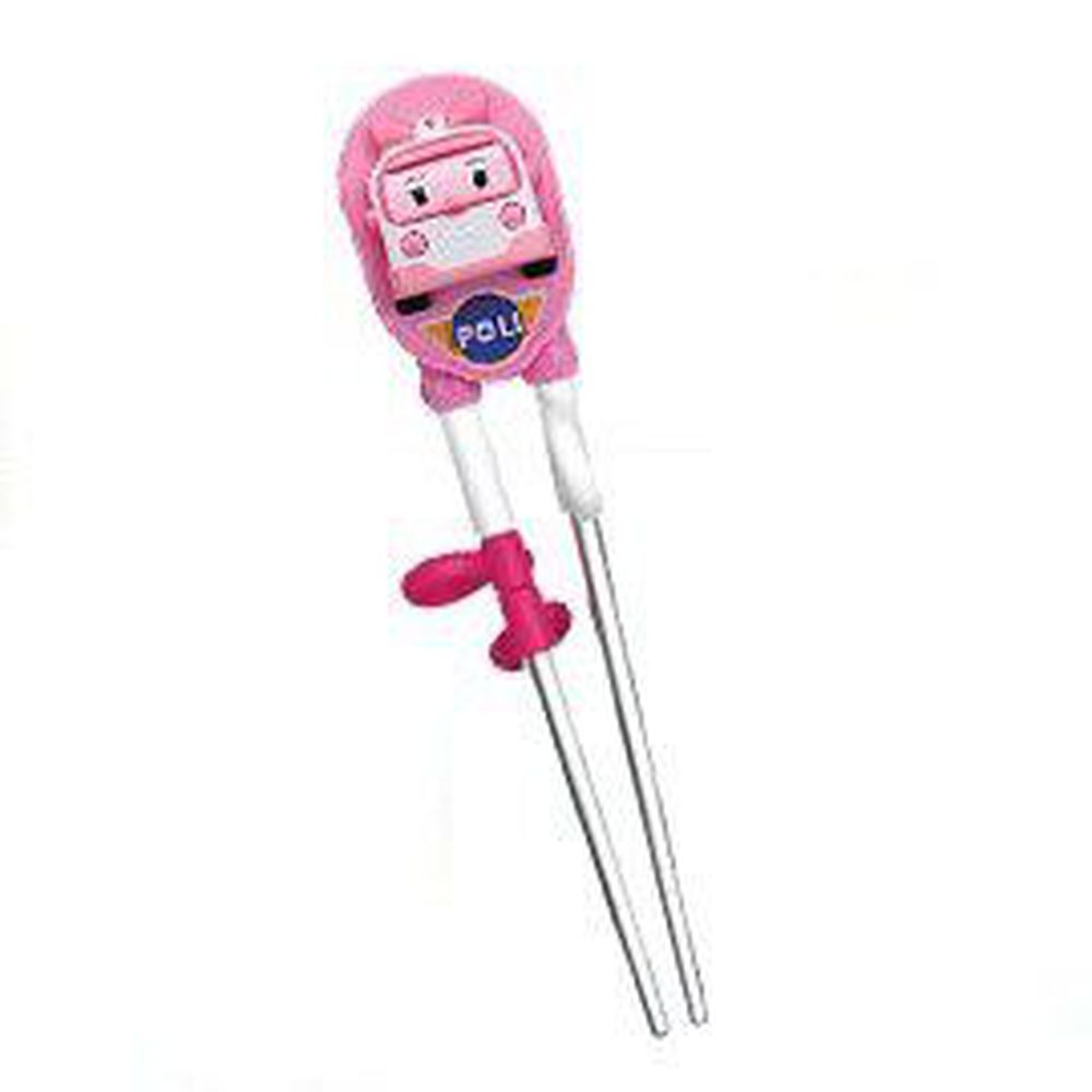 EDISON 愛迪生 - POLI 波力 救援小英雄 兒童不銹鋼學習筷-3D立體款-粉-右手-新款