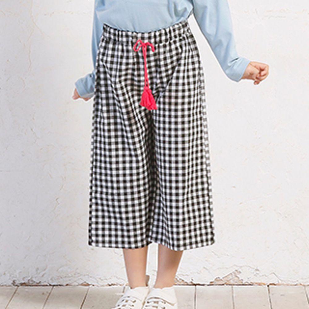 日本 TORIDORY - 格紋流蘇綁帶寬褲-黑格子