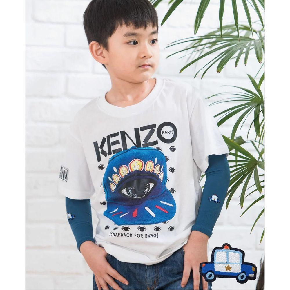 貝柔 Peilou - UPF50+兒童高效涼感防蚊抗UV袖套-(貼布繡)-警車-灰藍 (F)