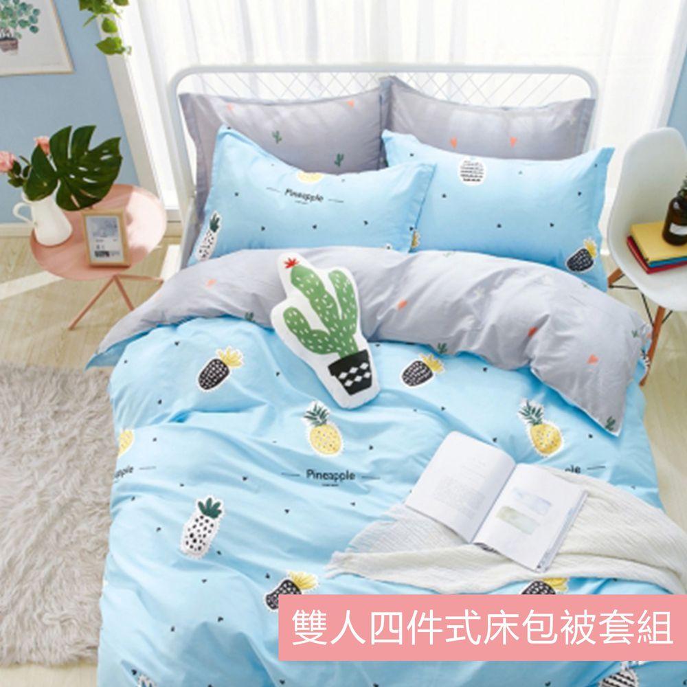 PureOne - 極致純棉寢具組-波羅一族-藍-雙人四件式床包被套組