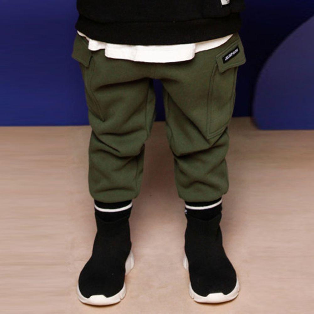 韓國 Jelispoon - (內刷毛)側邊雙口袋彈力褲-軍綠