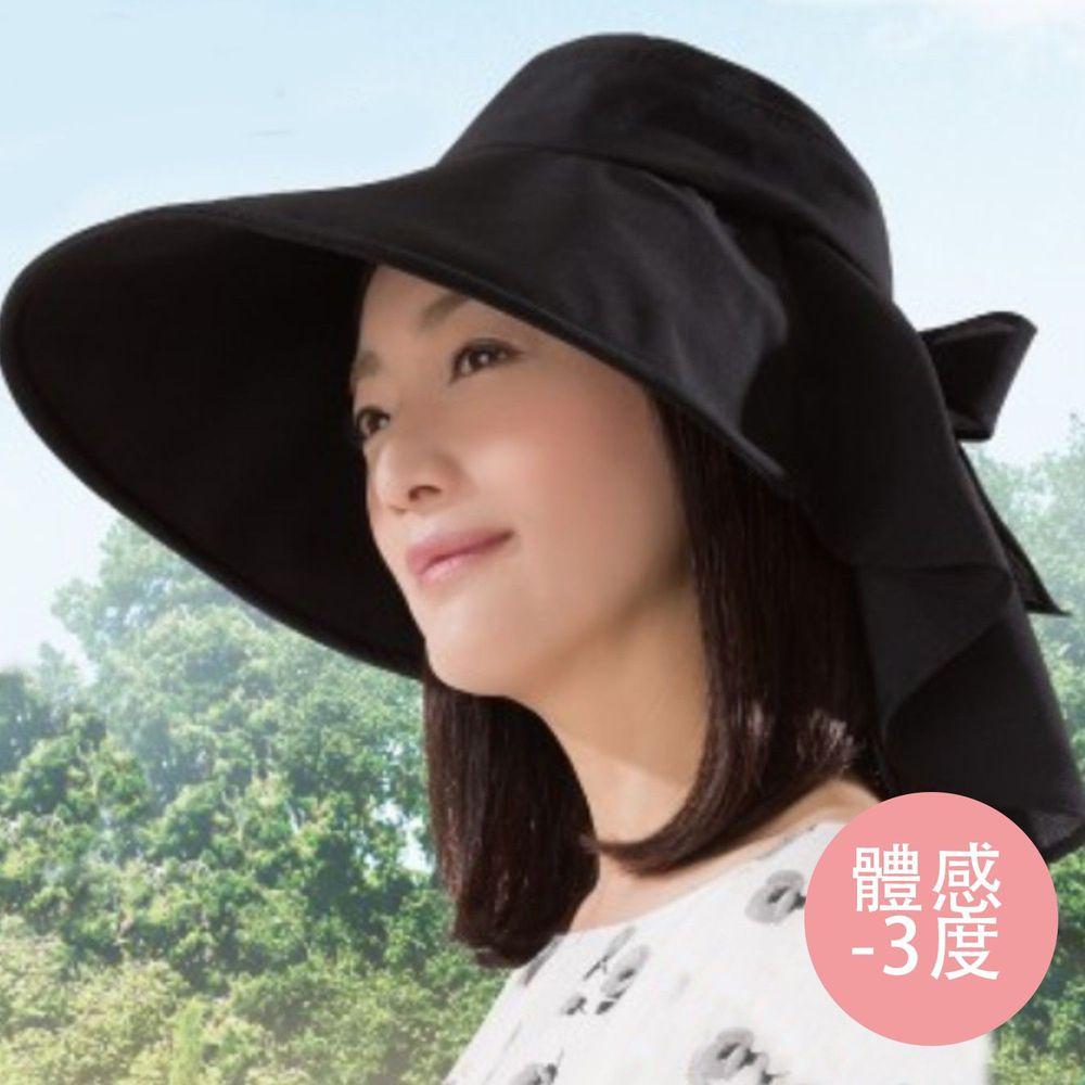 日本 SUN FAMILY - 體感-3度馬尾大帽簷護頸可塑型遮陽帽-黑 (頭圍58cm內)
