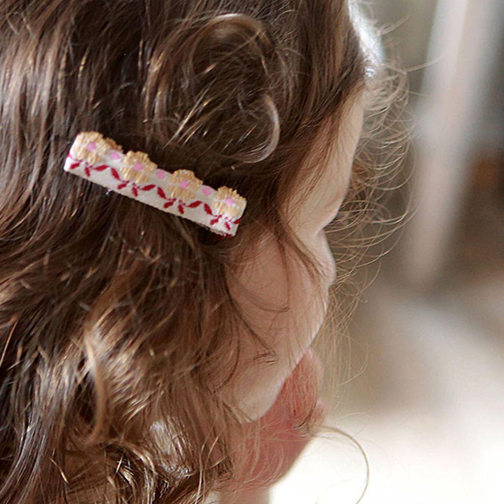 韓國 PuellaFLO - 刺繡花朵髮夾/髮飾-粉紅