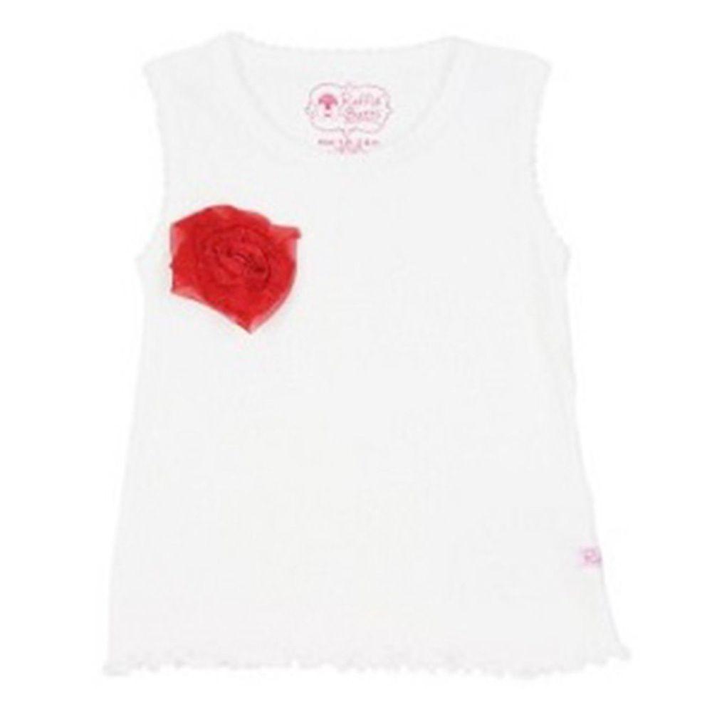 美國 RuffleButts - 甜美小女童背心-紅色小花白色背心