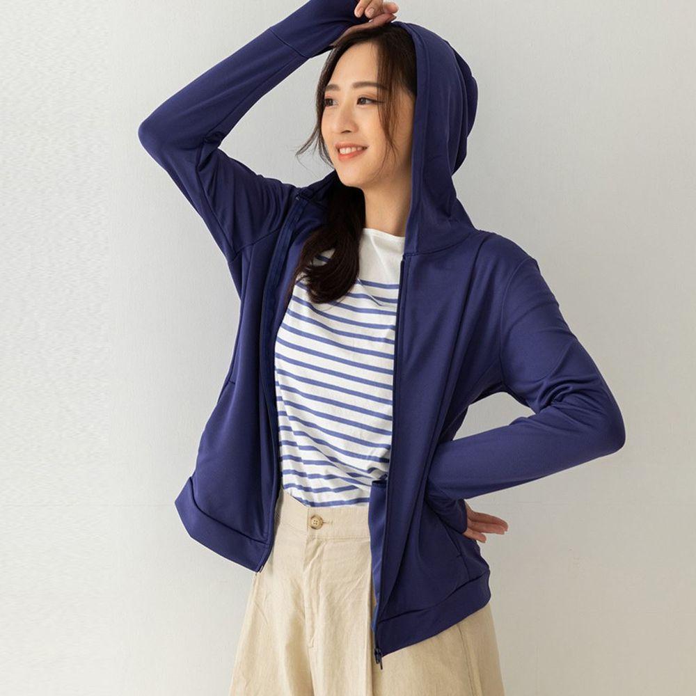 貝柔 Peilou - UPF50+高透氣防曬顯瘦外套-女連帽-丈青色