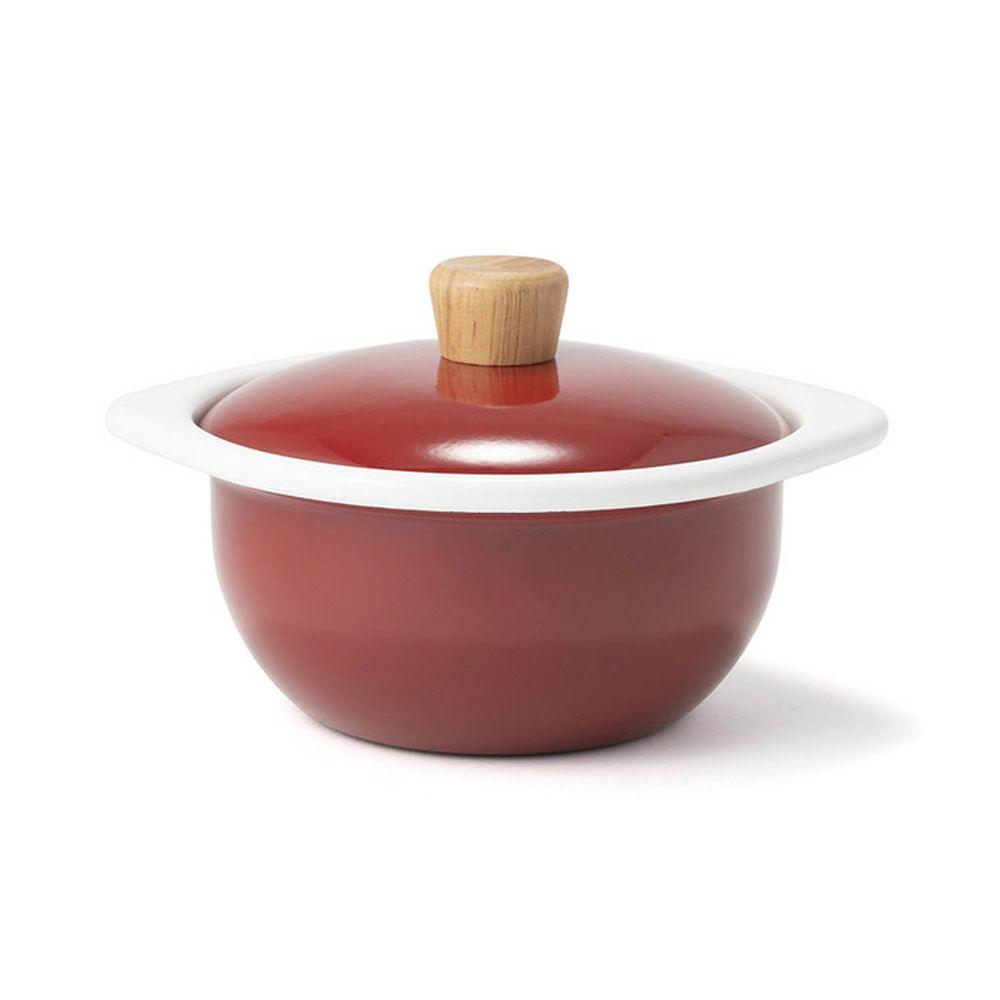FUJIHORO 富士琺瑯 - 簡約系列-15cm迷你琺瑯附蓋鍋-勃根地紅-容 量:1.2L 重量:0.74kg