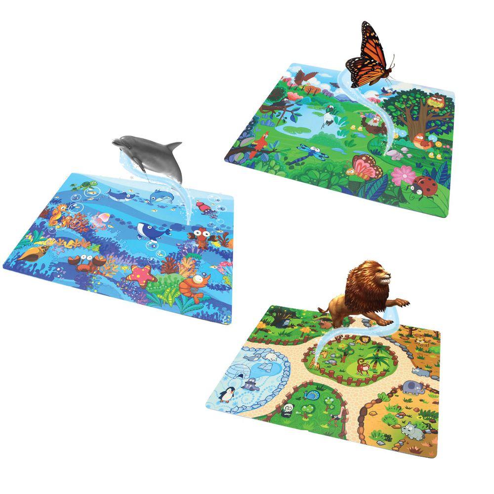 Sunta - 互動體驗AR樂扣墊- (32x32cm)-12片 - 野生動物園*1+海底世界*1+飛行樂園*1