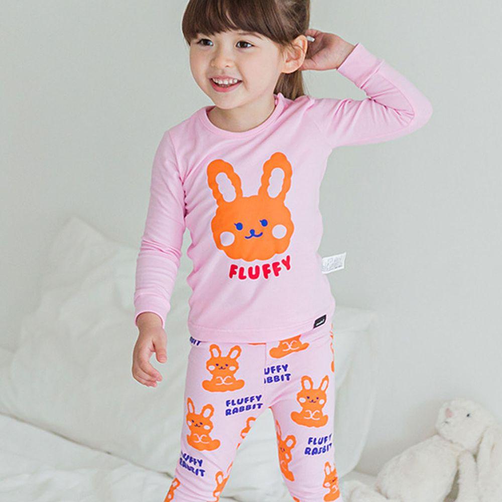 韓國 Cordi-i - 無螢光棉薄款長袖家居服-粉紅小兔