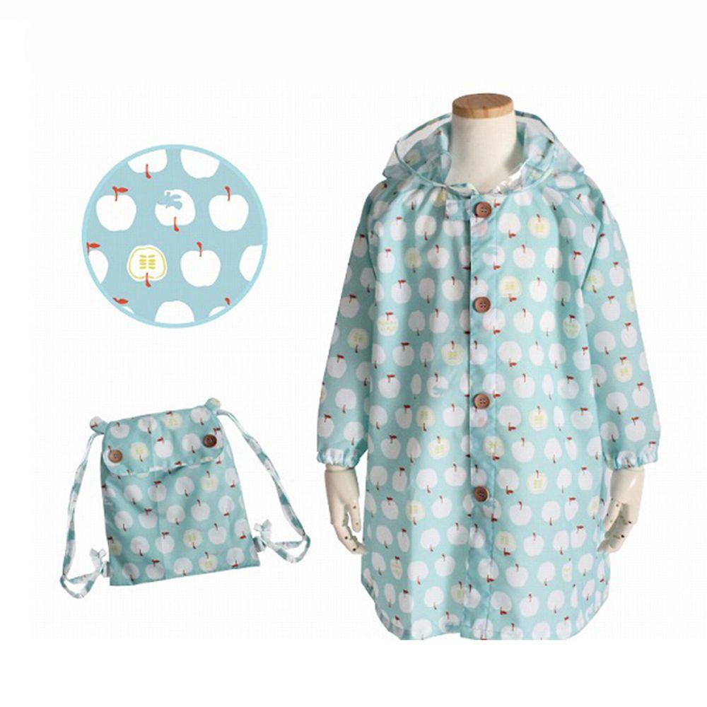 日本 kukka hippo - 小童雨衣(附收納袋)-粉綠蘋果