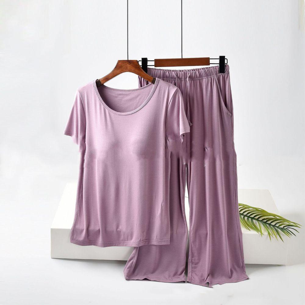 莫代爾柔軟涼感Bra T家居服-七分褲套裝-紫色