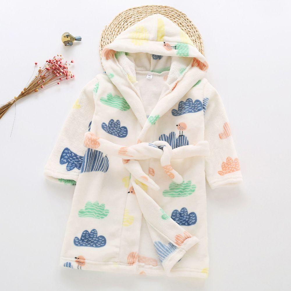 超柔軟珊瑚絨浴袍睡衣-白色小山