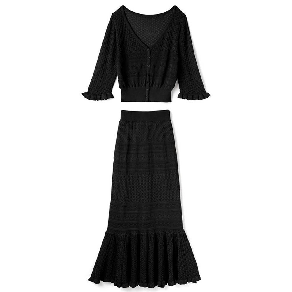 日本 GRL - 針織鏤空 V領五分袖上衣 X 魚尾長裙套裝-時尚黑