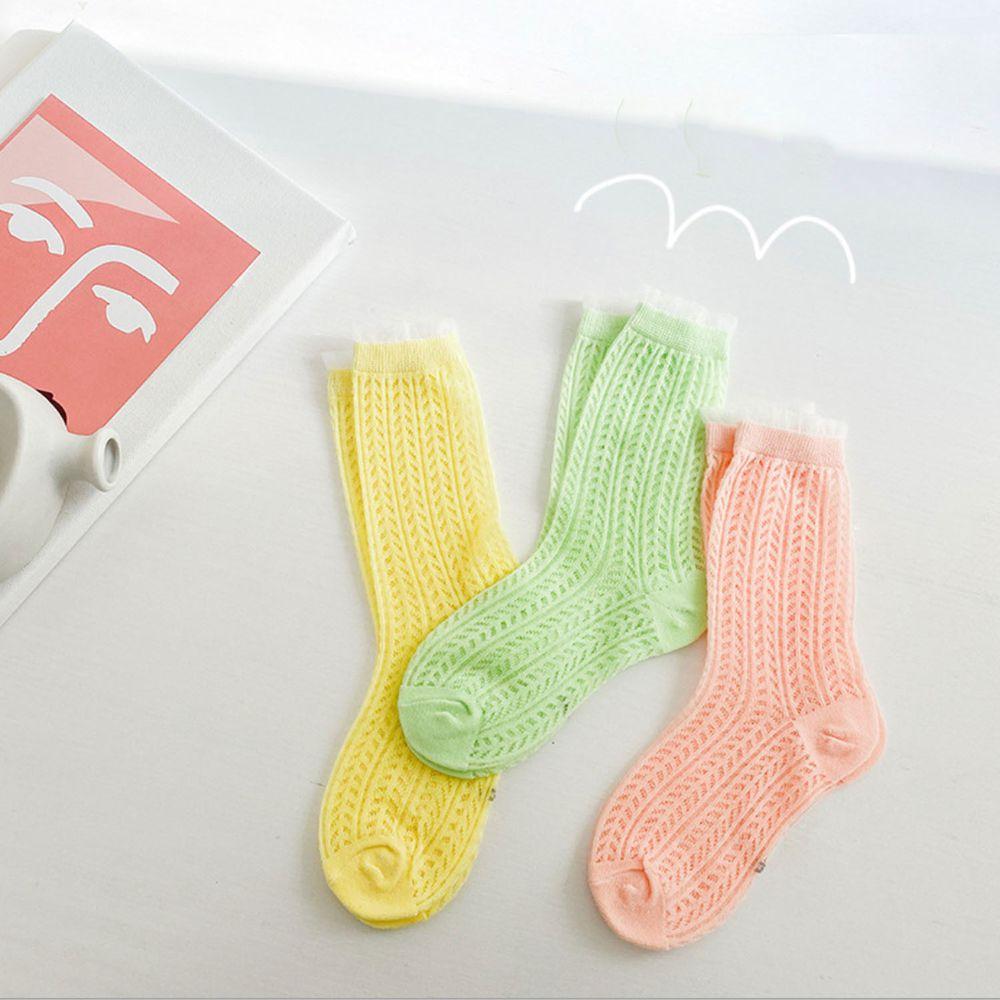 馬卡龍色系花邊網眼棉質短筒襪(3雙一組)-橘/黃/青蘋果綠