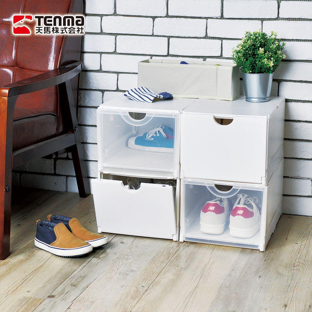 日本天馬 - 雙開耐固層疊鞋靴收納盒(4入組)-白身透蓋