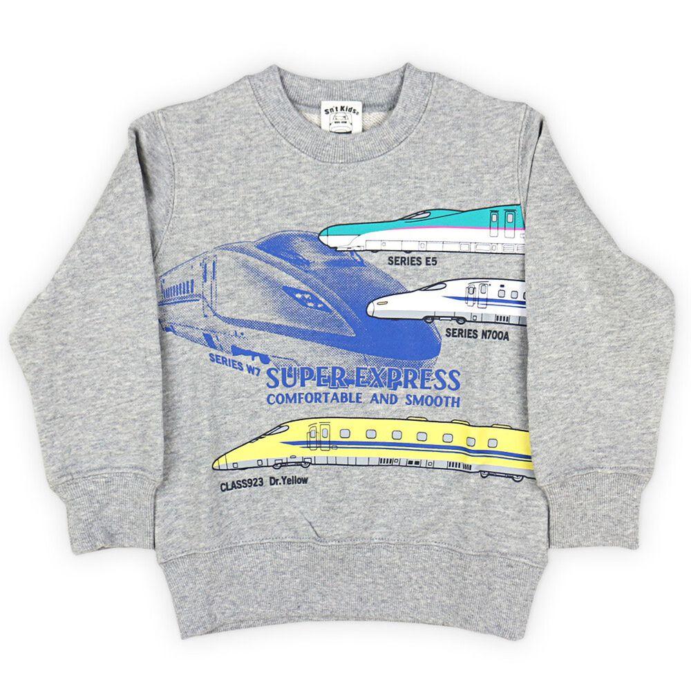 日本服飾代購 - 純棉印花長袖上衣(裏毛)-新幹線-雜灰