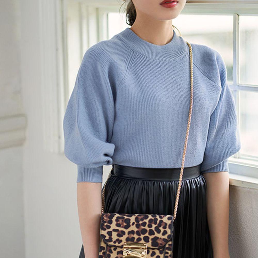 日本 GRL - 小高圓領七分袖薄款針織上衣-藍
