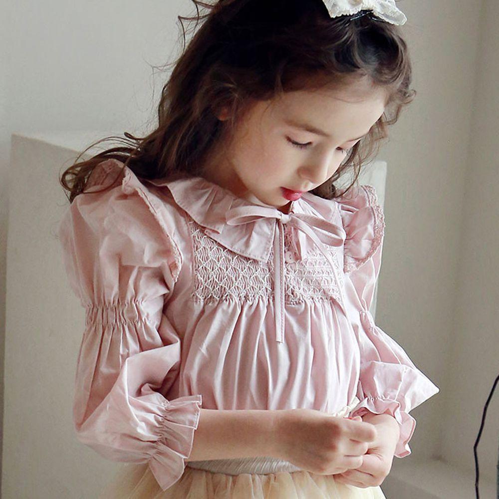 韓國 PuellaFLO - 抓皺荷葉泡泡袖上衣(無蝴蝶結,改鈕釦)-粉紅