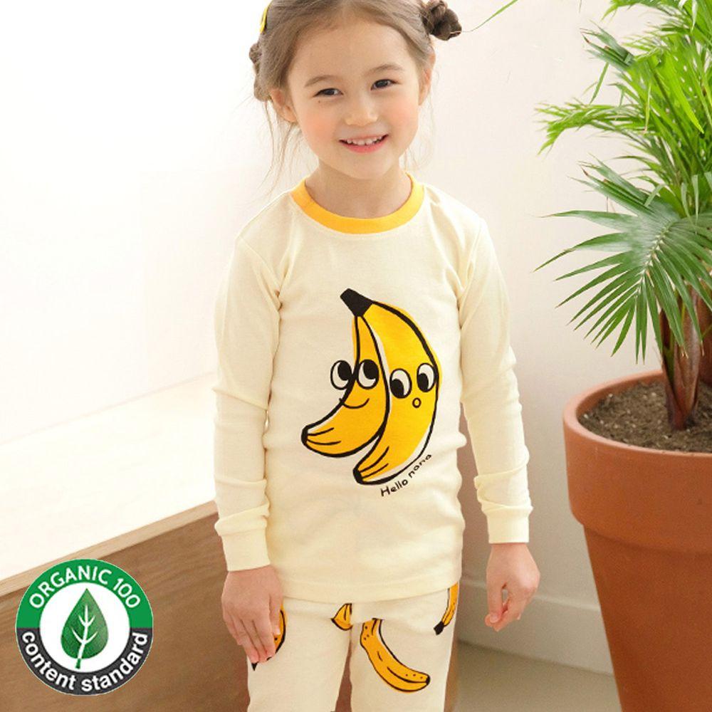 韓國 Maykids - 30支有機棉長袖家居服-大眼睛香蕉