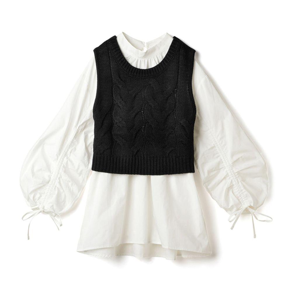 日本 GRL - 抽繩袖設計長袖上衣+針織背心兩件組-黑白