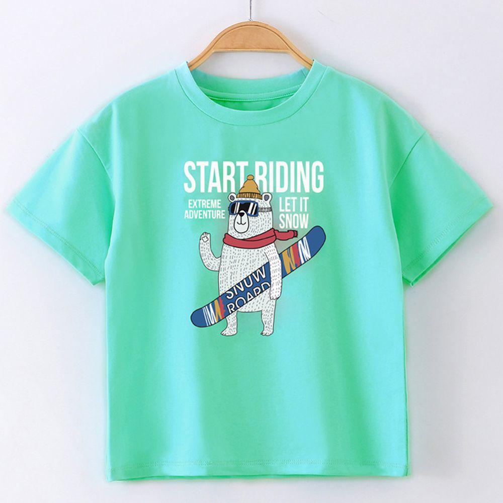 FitUrBabe - 彈力棉質短袖上衣-滑雪熊-绿色