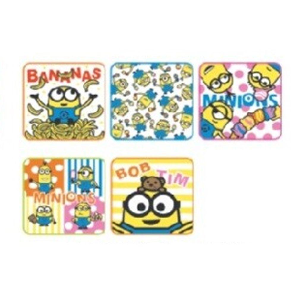 日本代購 - 卡通方形小手帕五件組-繽紛小小兵 (15x15cm)