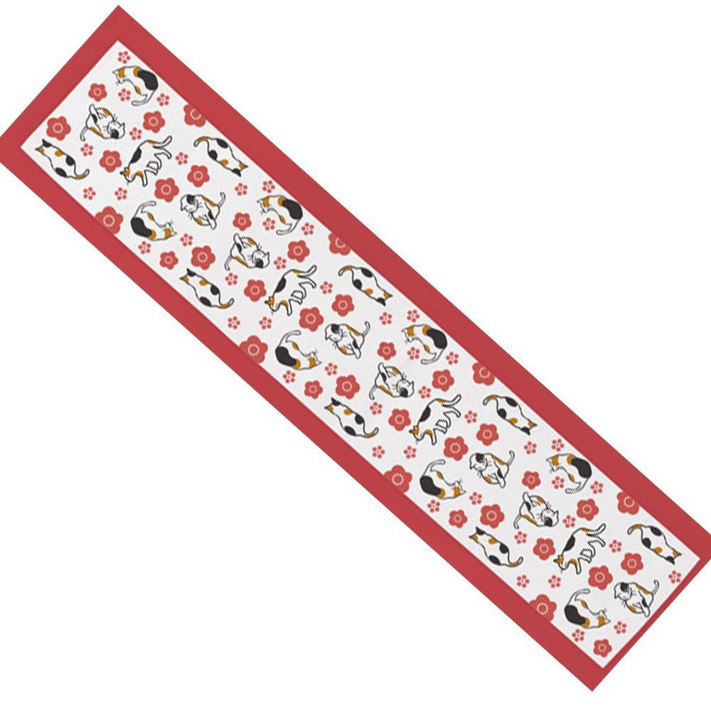 日本丸和 - 和柄小江戶水涼感巾(附收納袋)-小花貓-白 (20x100cm)