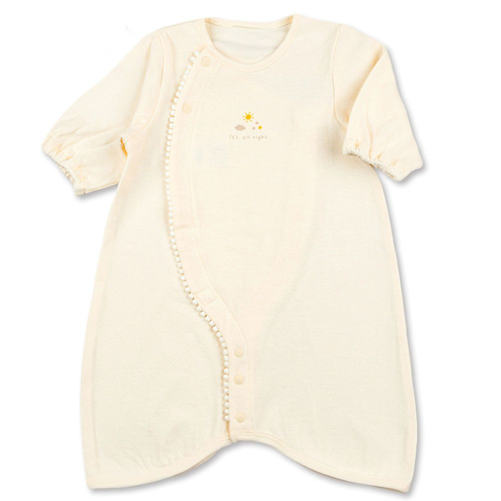 akachan honpo - 長袖舒適連身衣-素面-象牙白色 (50-60cm)
