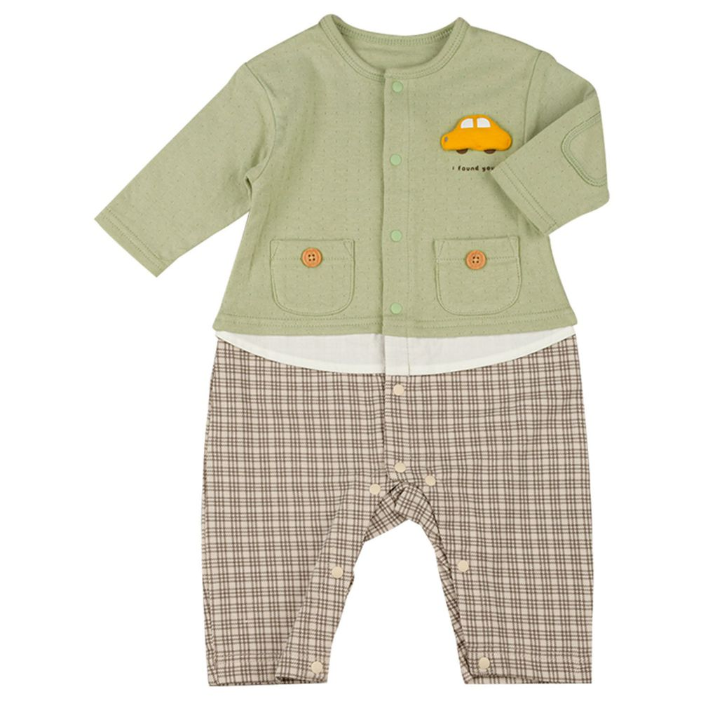 akachan honpo - 男長袖兔裝-假兩件-綠色