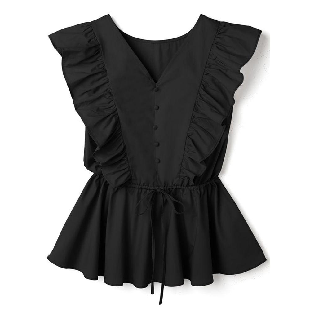 日本 GRL - 大荷葉綁帶排釦V領無袖上衣-時尚黑