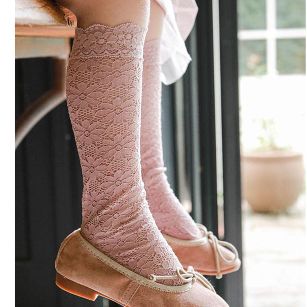 韓國 Puellaflo - 透膚蕾絲雕花長筒襪-藕粉