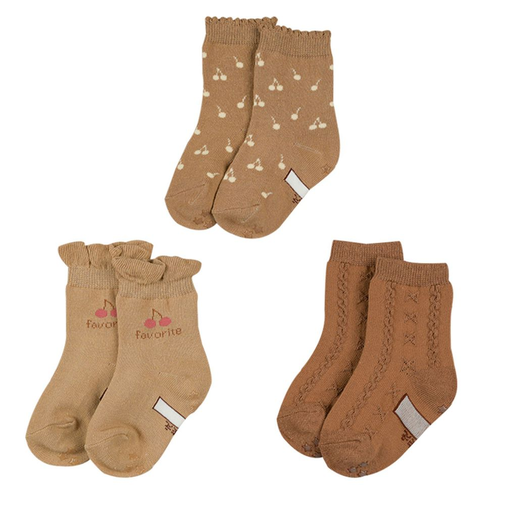 akachan honpo - 女中筒襪3雙組-櫻桃-咖啡色 (9~14cm)