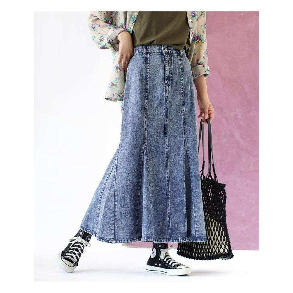 日本 zootie - 魚尾造型牛仔長裙-藍
