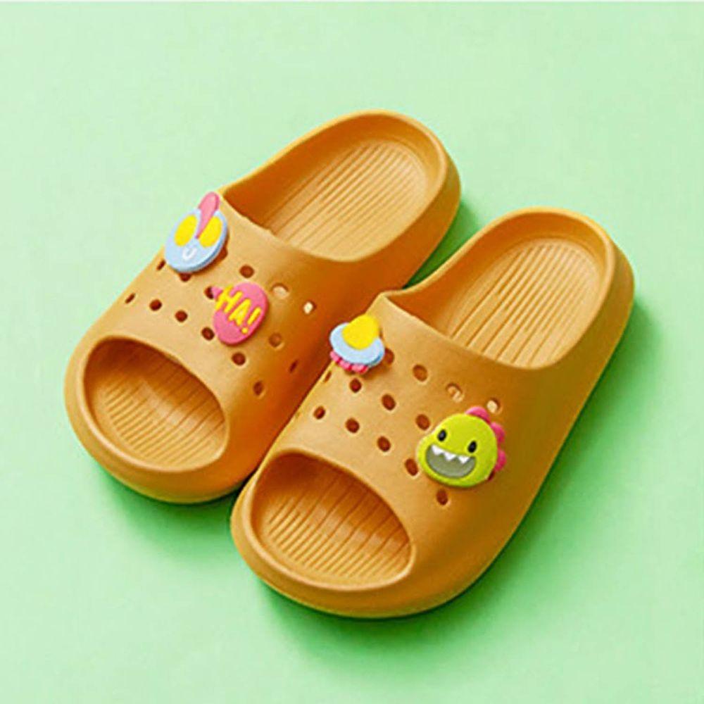 Cheerful Mario - 兒童洞洞拖鞋-薑黃