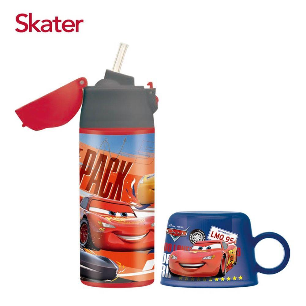 日本 SKATER - 吸管不鏽鋼保溫瓶(360ml)送寶特瓶杯蓋-閃電麥昆