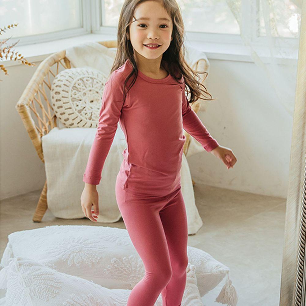 韓國 Puco - 輕盈感保暖衣套裝-粉紅