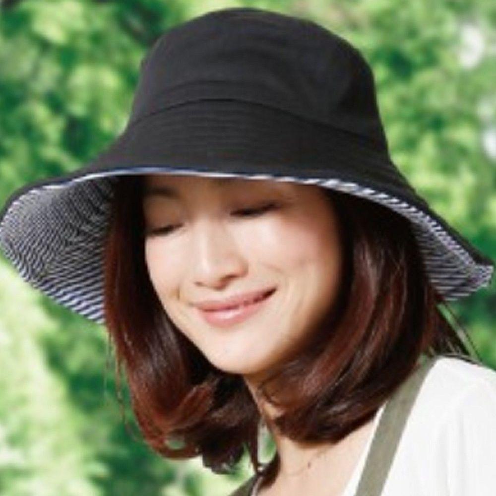 日本 SUN FAMILY - 12cm帽簷可折疊兩面抗UV遮陽帽-黑x條紋 (頭圍57.5cm內)