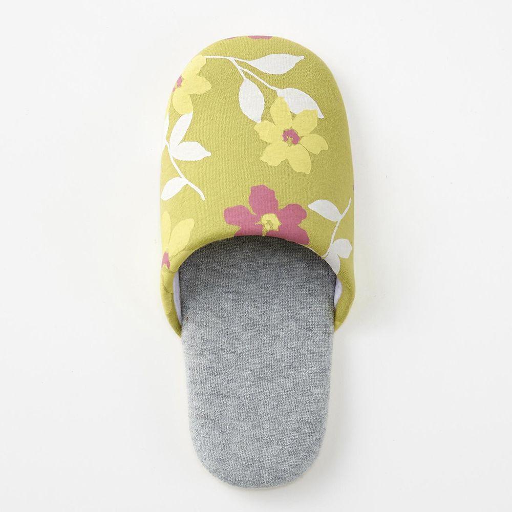 日本千趣會 - 印花室內拖鞋-粉綠花園-綠X灰