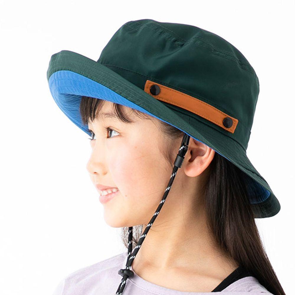 日本服飾代購 - 【irodori】抗UV可捲收防潑水遮陽帽(附防風帽帶)-兒童款-深綠X藍內裏 (54cm)