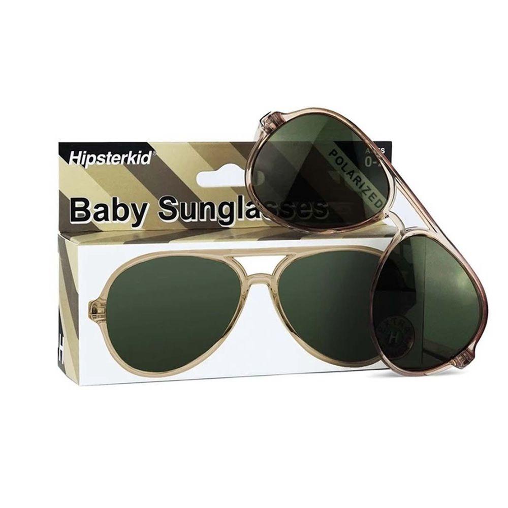 Hipsterkid - 抗UV奢華嬰童偏光太陽眼鏡(附固定繩/收納袋)-飛行員砂礫