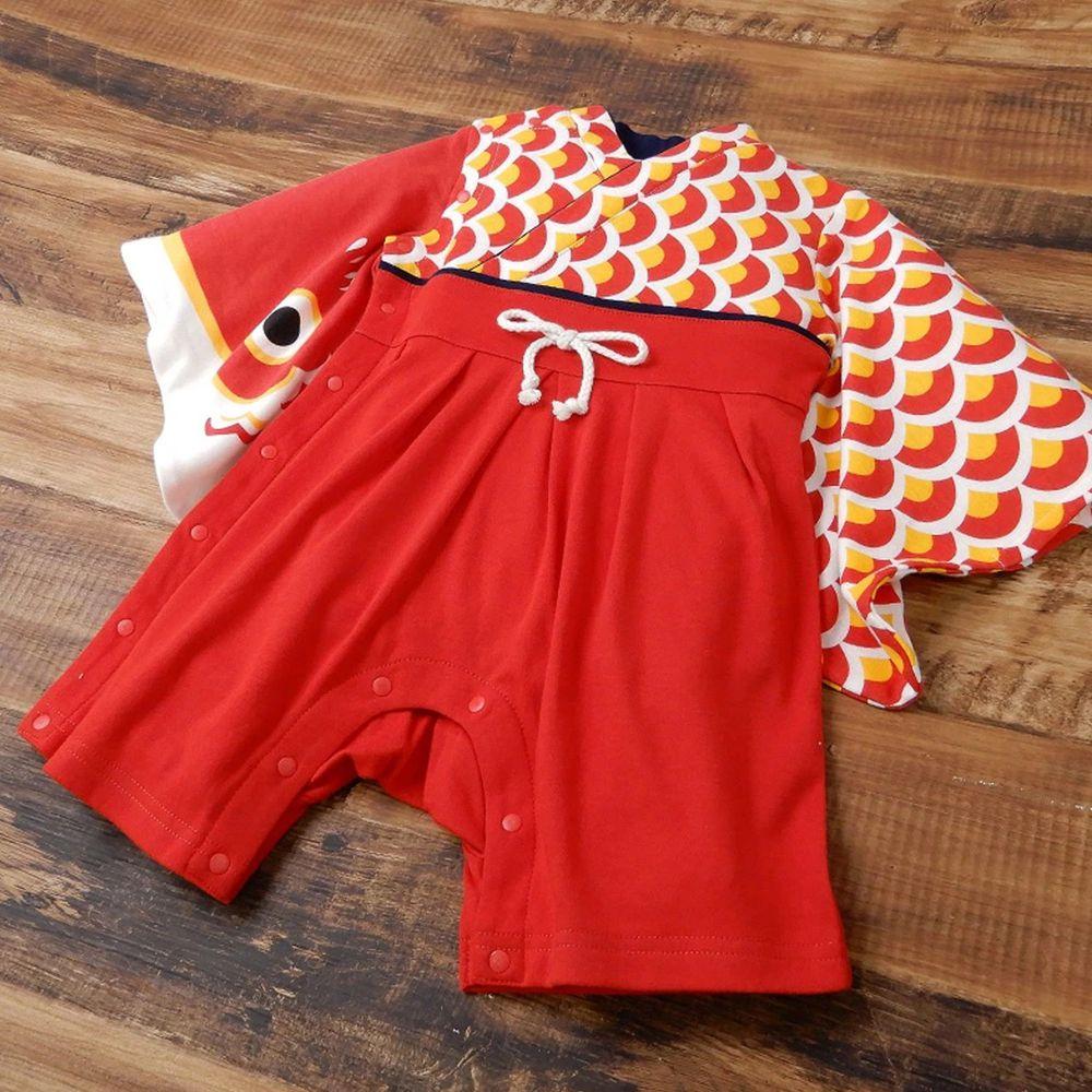 日本 ZOOLAND - 日本傳統袴 和服(連身衣式)附贈襪子-鯉魚旗-紅 (90)