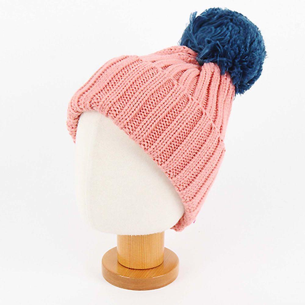 韓國 Babyblee - 大毛球針織毛線帽-粉紅 (FREE)