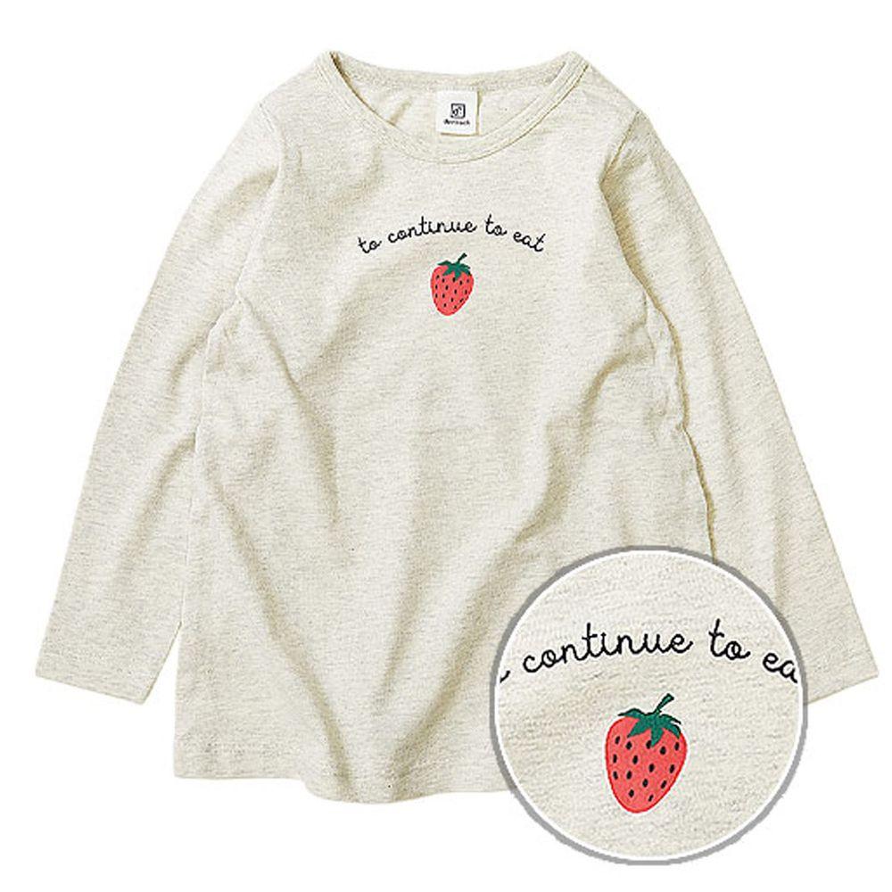 日本 devirock - 純棉 定番百搭印花長T-草莓-燕麥