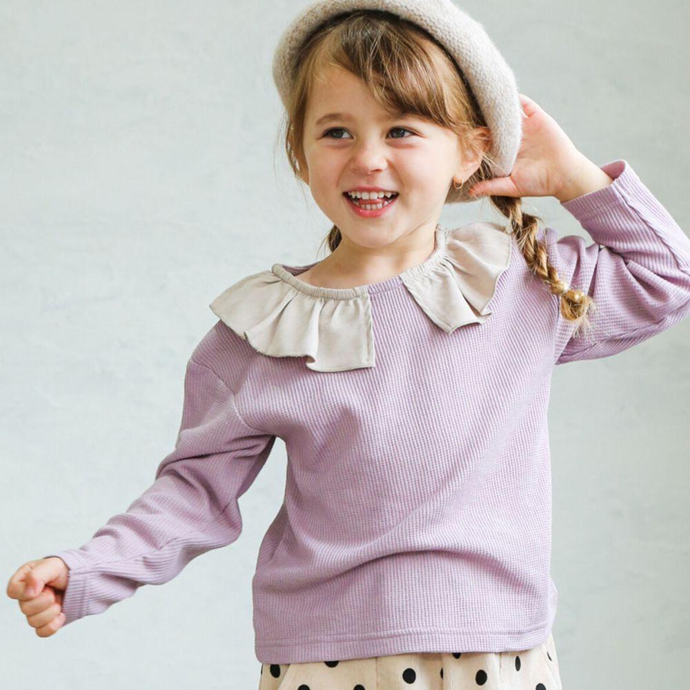 日本 PAIRMANON - 撞色荷葉領設計鬆餅紋長袖上衣-杏X紫